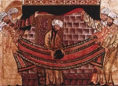 Maomé ajudando a posicionar a Pedra Negra na parede leste da Kaaba